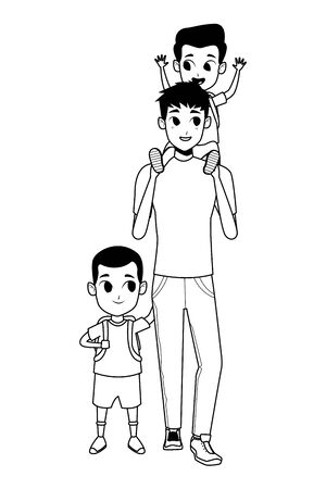 Family single father with kid holding school backpack vector illustration graphic design