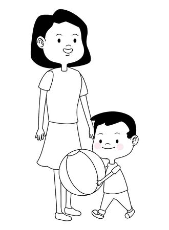 Family single mother playing ball and smiling with son cartoon ,vector illustration graphic design.