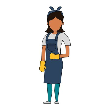 Cleaner woman worker smiling with cleaning gloves vector illustration graphic design.