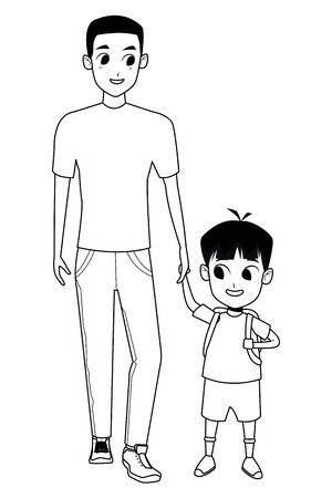 Family single father with kid holding school backpack isolated vector illustration graphic design Illustration