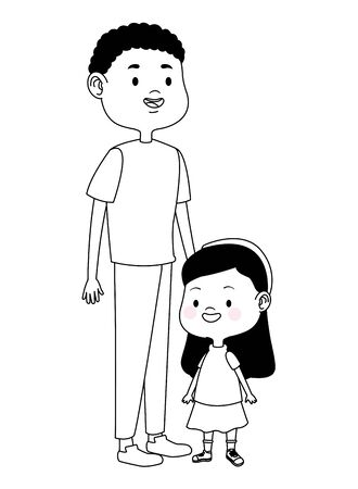 Family single father playing and smiling with daughter ,vector illustration graphic design. Illustration