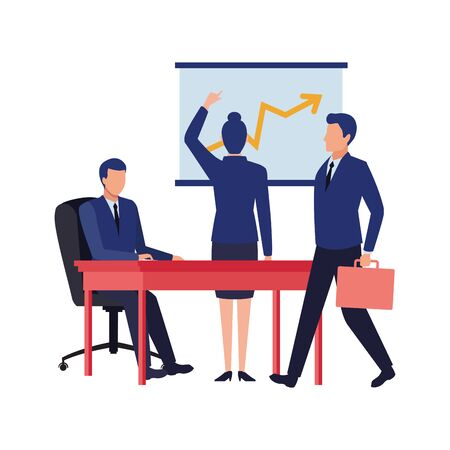 business business people businessman carrying a briefcase, businesswoman back view pointing a data chart and businessman sitting on a desk avatar cartoon character vector illustration graphic design Ilustracja