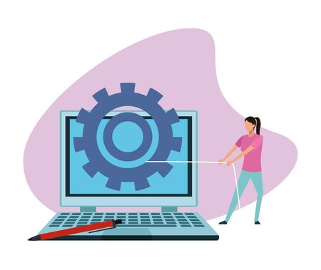 woman pulling a gear wheel on a laptop computer over white background, colorful design , vector illustration