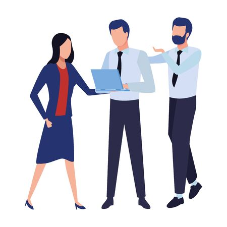 three businesspartners working with office supplies colorful isolated faceless avatar vector illustration graphic design Ilustracja