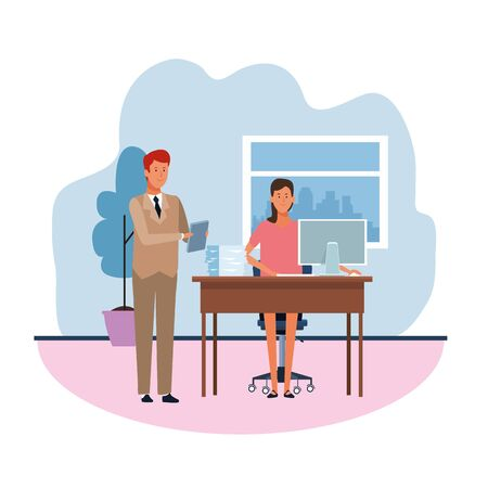 cartoon businessman standing and businesswoman working at desk in the office over white background, colorful design. vector illustration