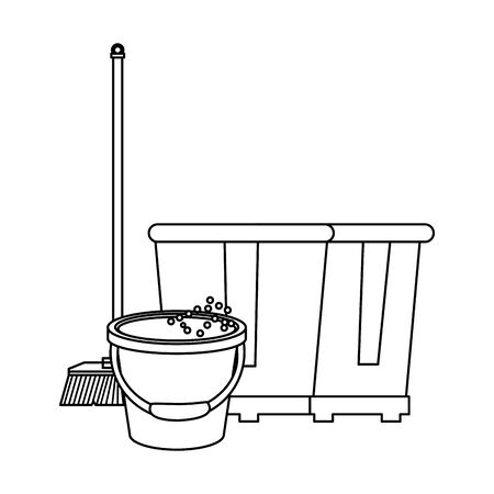 Cleaning equipment and products water bucket and broom with trash can vector illustration graphic design. Çizim
