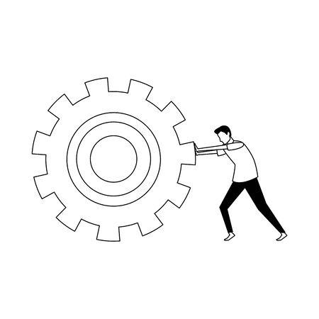 avatar man pushing big gear wheel icon over white background, vector illustration