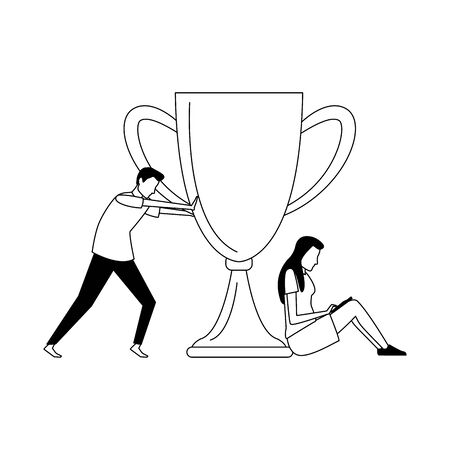 avatar man pushing a big trophy and avatar woman over white background, vector illustration Illustration