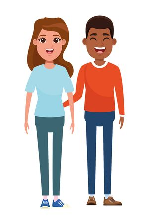 couple avatar afroamerican man smiling and brunette woman profile picture cartoon character portrait vector illustration graphic design