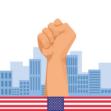 Hand clenched fist sign cartoon over cityscape with usa flag ,vector illustration graphic design.