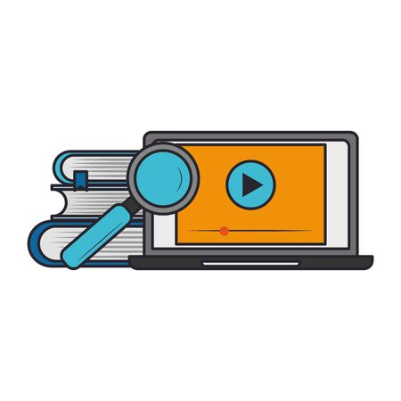 computer with magnifying glass over white background, vector illustration Ilustrace