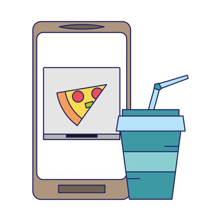 Online food order from smartphone pizza and soda symbols vector illustration graphic design Ilustracja