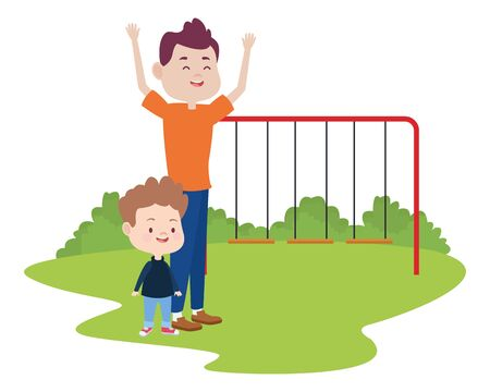 young father with son in the park vector illustration design