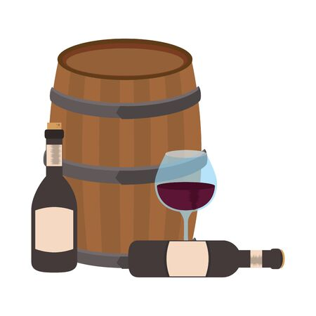 glass with wine bottles and wooden barrel over white background, colorful flat design. vector illustration