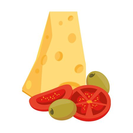 cheese piece with tomato and olives over white background, vector illustration