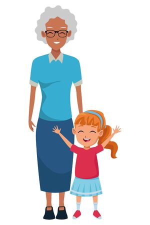 Family grandmother with little grandaughter cartoon vector illustration graphic design