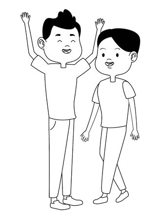 Teenagers friends boy and girl with casual clothes smiling and greeting cartoons ,vector illustration graphic design. Illustration