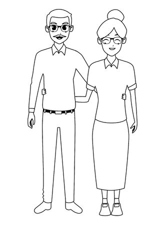 old people smiling and happy couple isolated vector illustration graphic design