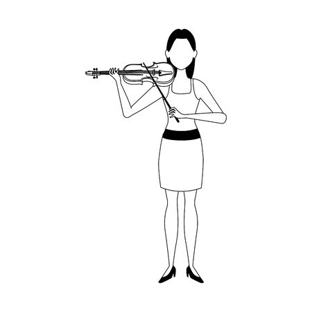 cartoon woman playing a violin over white background, vector illustration