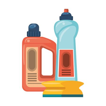 Cleaning equipment and products soap bottles with sponge vector illustration graphic design. Çizim