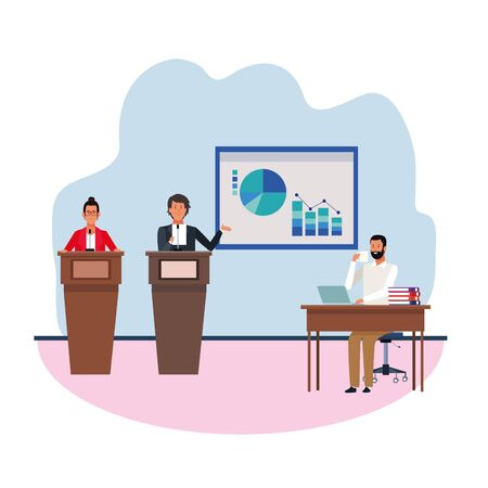 cartoon business man and woman at conference podiums showing graphic charts to executive man over white background, vector illustration