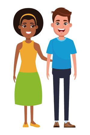 couple avatar brunette man smiling and afroamerican woman wearing bandana profile picture cartoon character portrait vector illustration graphic design