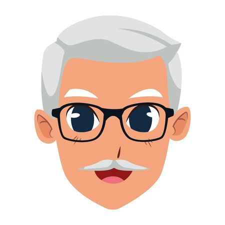 old man face with glasses and mustache icon over white background, vector illustration 向量圖像