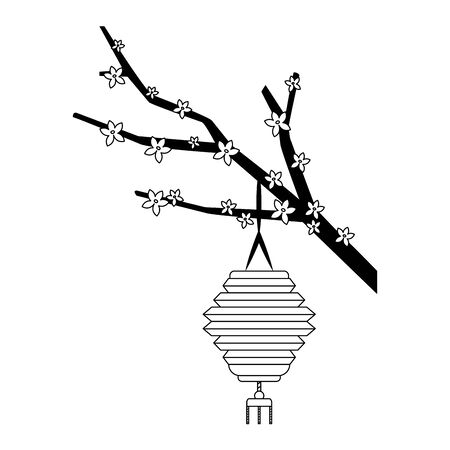 blossom tree branch with chinese lantern icon over white background, black and white design, vector illustration