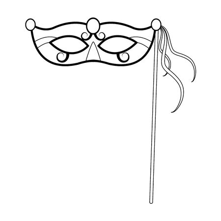 Mardi gras mask on stick icon over white background, black and white design, vector illustration Ilustrace