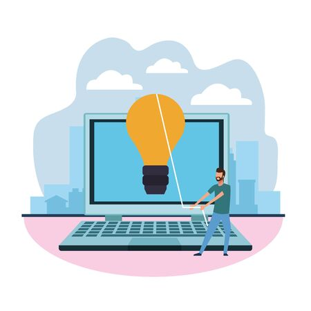big laptop computer and man pulling a light bulb over white background, colorful design , vector illustration Ilustrace