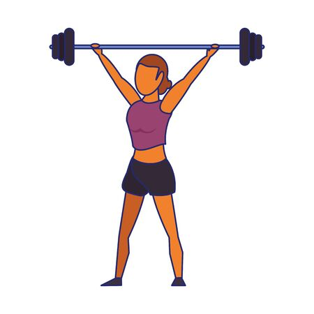 Fitness woman lifting weights isolated cartoon vector illustration graphic design Stock fotó - 133974553