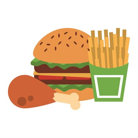 Fast food hamburger with chicken and french fries isolated vector illustration graphic design Ilustracja