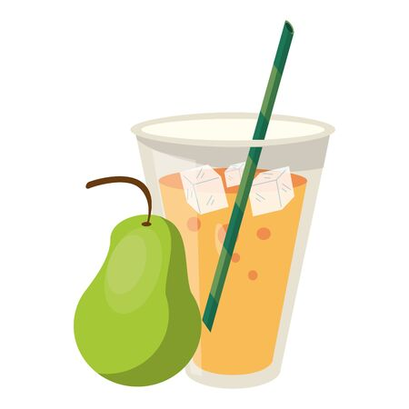 delicious tropical fruit with fruit juice and pear icon cartoon vector illustration graphic design
