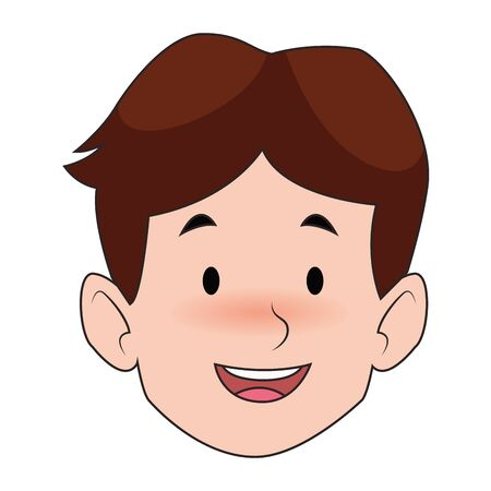 cartoon boy smiling icon over white background, vector illustration