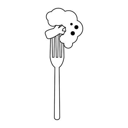 fork with broccoli icon cartoon vector illustration graphic design Ilustracja