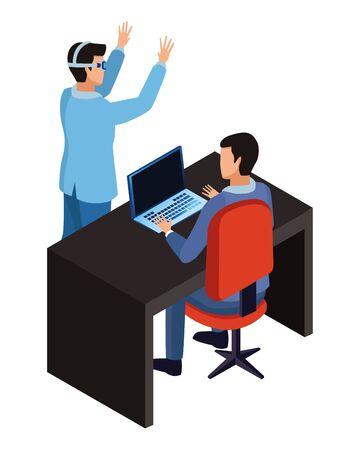 technology businessman in office with laptop virtual reality glasses symbols vector illustration graphic design Illusztráció