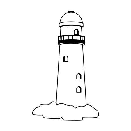lighthouse icon over white background, vector illustration