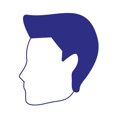 profile of avatar man face icon over white background, vector illustration