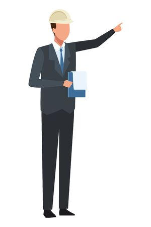 Construction engineer with clipboard vector illustration graphic design