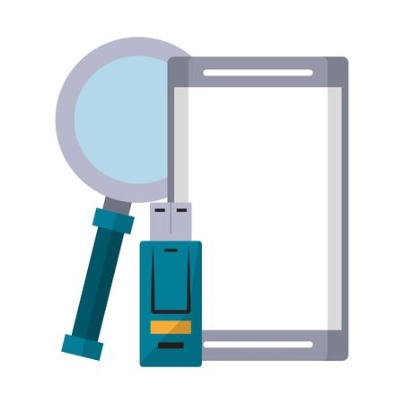 cellphone with magnifying glass and usb icon cartoon vector illustration graphic design