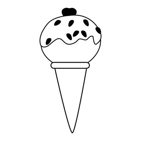 ice cream cone icon over white background, vector illustration