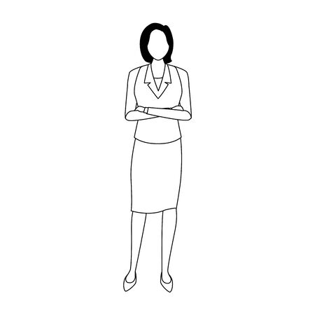 avatar businesswoman icon over white background, vector illustration Ilustrace