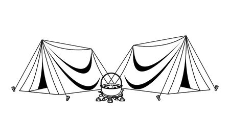 Camping tents with soup in bonfire ,vector illustration graphic design. 일러스트