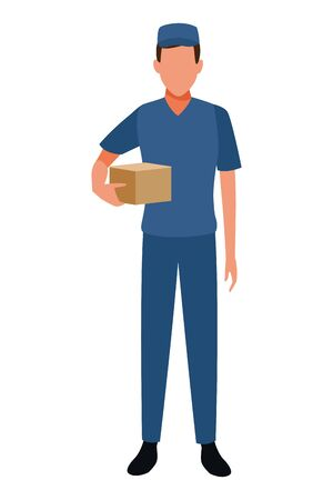 Courier with box delivery profession avatar vector illustration graphic design