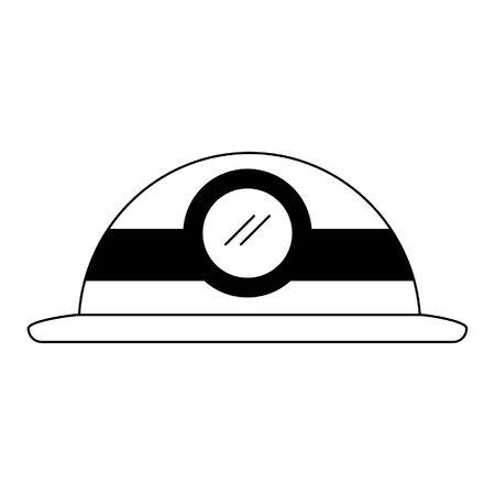 Worker helmet with light vector illustration graphic design