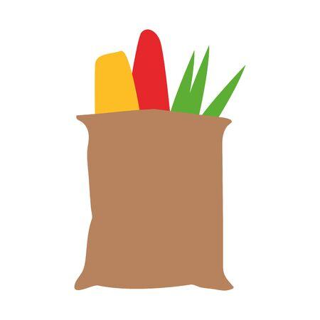 supermarket bag with vegetables over white background, vector illustration