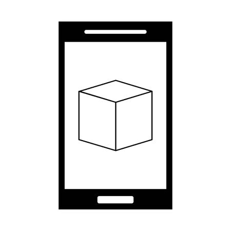 Smartphone with cube on screen symbol vector illustration graphic design