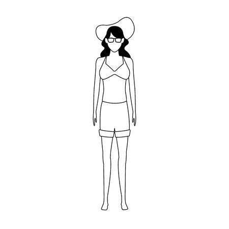 Avatar donna che indossa pantaloncini e cappello da spiaggia su sfondo bianco, illustrazione vettoriale