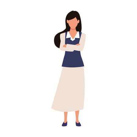 avatar businesswoman standing icon over white background, vector illustration Ilustrace