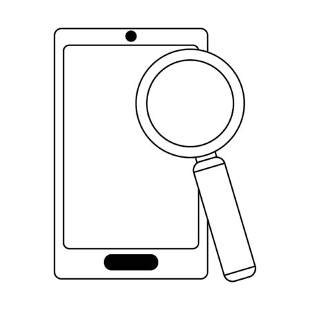 Business and office technology smartphone with magnifying glass vector illustration graphic design